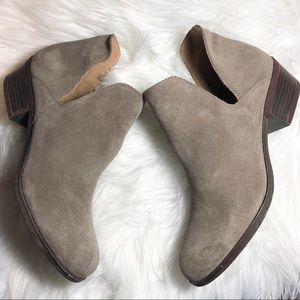 Lucky Brand tan suede low heel booties